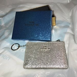 COACH Silver Glitter mini ID Skinny Wallet NEW
